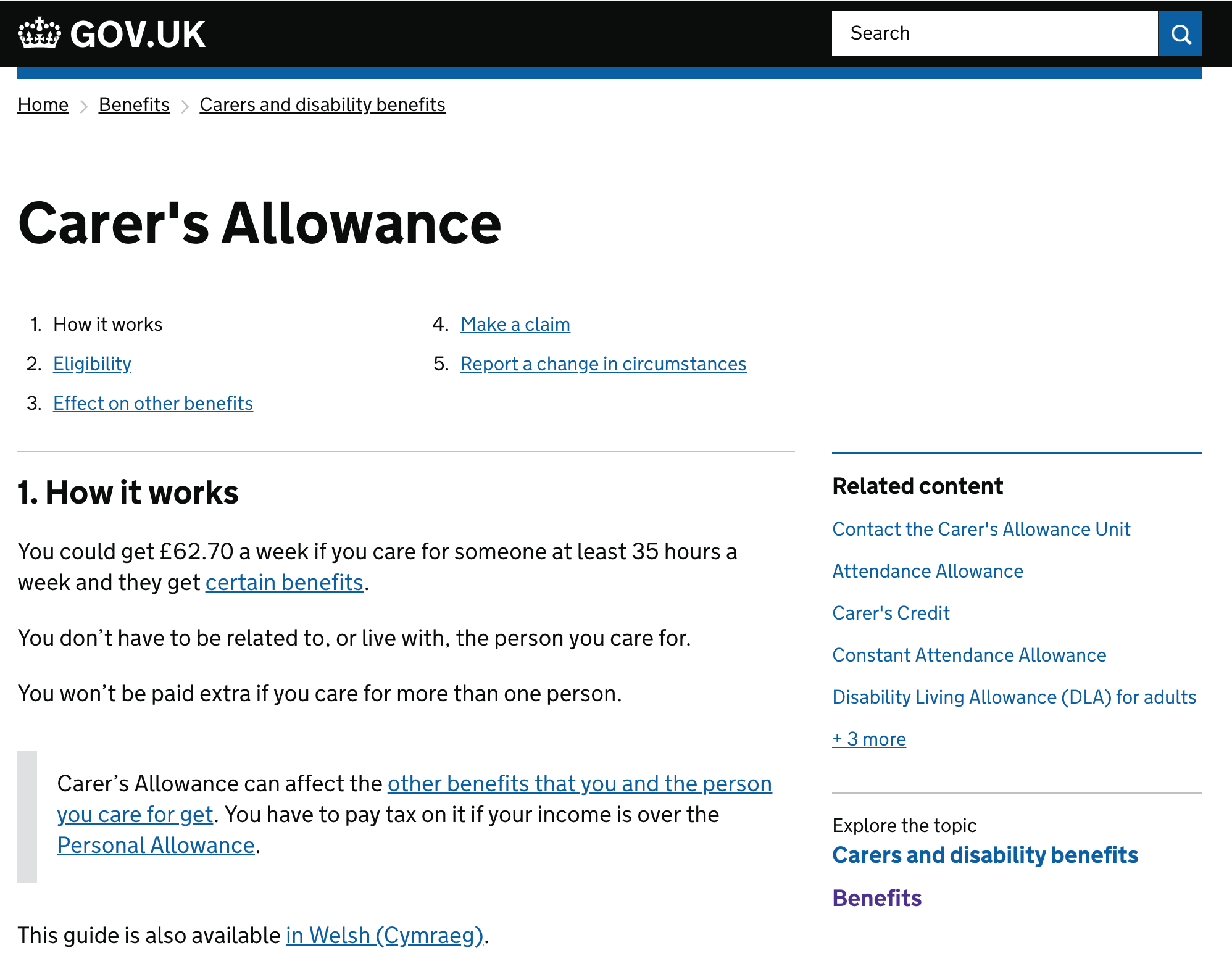 Example of Career's allowance page with different types of navigation
